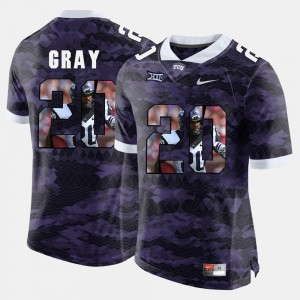 TCU Horned Frogs Deante Gray Jersey #20 High-School Pride Pictorial Limited For Men Purple