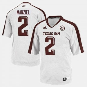 Texas A&M Aggies Johnny Manziel Jersey #2 White College Football Men