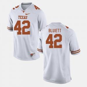 Texas Longhorns Caleb Bluiett Jersey White College Football #42 Men's