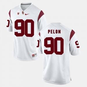 USC Trojans Claude Pelon Jersey #90 White Pac-12 Game Men