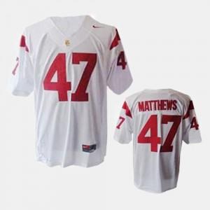 USC Trojans Clay Matthews Jersey College Football #47 For Men's White