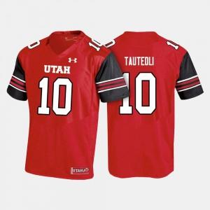 Utah Utes Sunia Tauteoli Jersey #10 Red College Football For Men