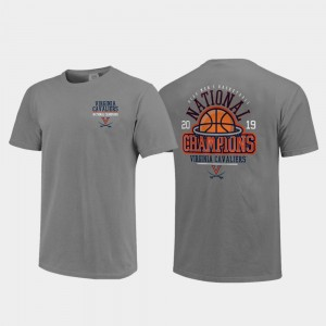 Virginia Cavaliers T-Shirt 2019 NCAA Basketball National Champions Above the Rim Comfort Color Gray For Men 2019 Men's Basketball Champions