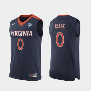 Virginia Cavaliers Kihei Clark Jersey Navy #0 Mens 2019 Men's Basketball Champions