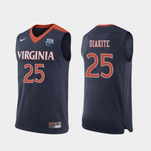 Virginia Cavaliers Mamadi Diakite Jersey #25 Navy Mens 2019 Men's Basketball Champions
