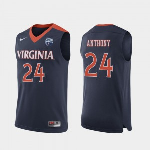 Virginia Cavaliers Marco Anthony Jersey For Men Navy 2019 Men's Basketball Champions #24