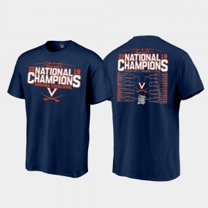 Virginia Cavaliers T-Shirt Navy 2019 Men's Basketball Champions Mens 2019 NCAA Basketball National Champions Top Billing Bracket