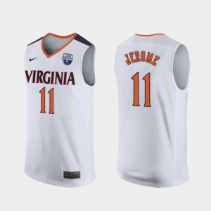 Virginia Cavaliers Ty Jerome Jersey #11 White Men's 2019 Men's Basketball Champions