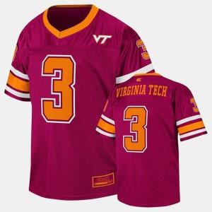 Virginia Tech Hokies Jersey Maroon #3 College Football Youth