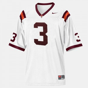 Virginia Tech Hokies Jersey #3 College Football White Youth(Kids)