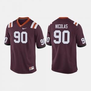 Virginia Tech Hokies Dadi Nicolas Jersey Maroon For Men's College Football #90
