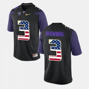 Washington Huskies Jake Browning Jersey US Flag Fashion Black Men #3