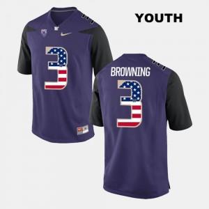 Washington Huskies Jake Browning Jersey Purple #3 US Flag Fashion Kids