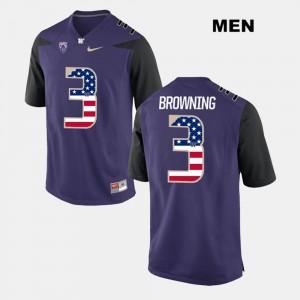 Washington Huskies Jake Browning Jersey Purple US Flag Fashion For Men #3