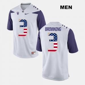 Washington Huskies Jake Browning Jersey For Men US Flag Fashion #3 White