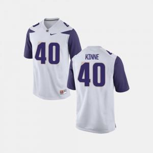 Washington Huskies Ralph Kinne Jersey #40 For Men's College Football White