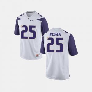Washington Huskies Sean McGrew Jersey Men's White College Football #25