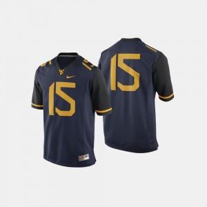 West Virginia Mountaineers Jersey #15 For Men Navy College Football