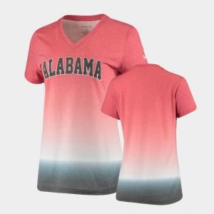 Alabama Crimson Tide T-Shirt V-Neck Crimson Ombre For Women