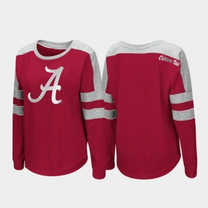 Alabama Crimson Tide T-Shirt Trey Dolman Long Sleeve For Women's Crimson