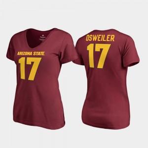 Arizona State Sun Devils Brock Osweiler T-Shirt V-Neck Women Maroon College Legends #17