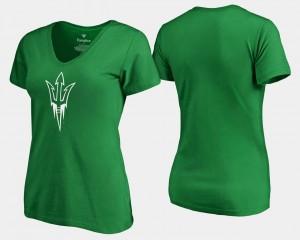 Arizona State Sun Devils T-Shirt Ladies White Logo St. Patrick's Day Kelly Green