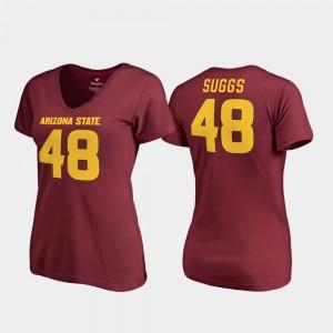Arizona State Sun Devils Terrell Suggs T-Shirt V-Neck #48 Women College Legends Maroon