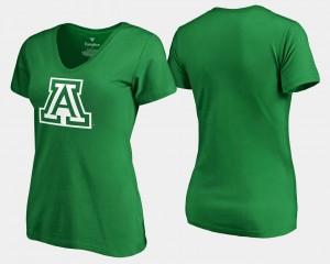 Arizona Wildcats T-Shirt For Women Kelly Green St. Patrick's Day White Logo