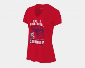 Arizona Wildcats T-Shirt V-Neck 2018 Pac-12 Champions Locker Room Basketball Conference Tournament Red Womens