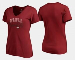 Arkansas Razorbacks T-Shirt V-Neck Cardinal Graceful For Women's