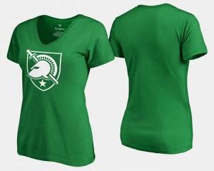 Army Black Knights T-Shirt St. Patrick's Day White Logo Women's Kelly Green