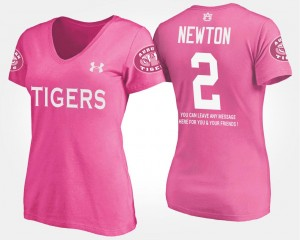 Auburn Tigers Cam Newton T-Shirt Pink #2 For Women's With Message