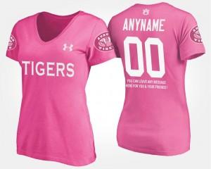 Auburn Tigers Custom T-Shirts Pink #00 Womens With Message
