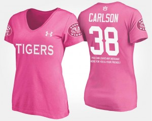 Auburn Tigers Daniel Carlson T-Shirt Pink Women With Message #38