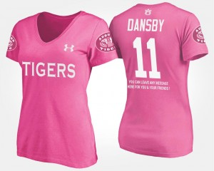 Auburn Tigers Karlos Dansby T-Shirt Pink #11 Women With Message