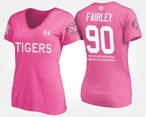 Auburn Tigers Nick Fairley T-Shirt Pink With Message Ladies #90