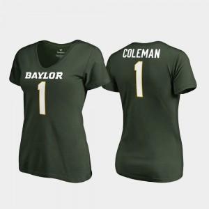 Baylor Bears Corey Coleman T-Shirt #1 V-Neck Women College Legends Green