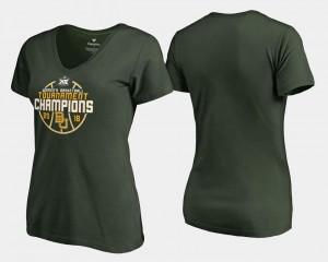 Baylor Bears T-Shirt Women Green Basketball Conference Tournament V-Neck 2018 Big 12 Champions