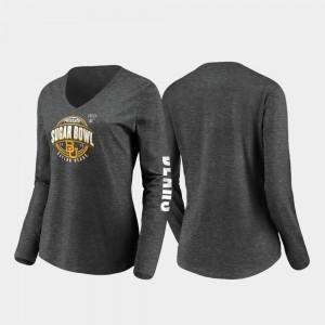 Baylor Bears T-Shirt Heather Charcoal Stiff Arm Long Sleeve V-Neck 2020 Sugar Bowl Bound For Women's
