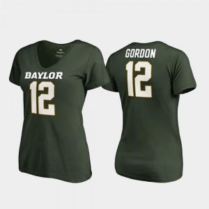 Baylor Bears Josh Gordon T-Shirt #12 Green Women V-Neck College Legends