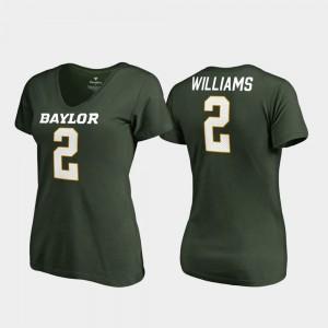 Baylor Bears Terrance Williams T-Shirt Green V-Neck #2 College Legends Womens