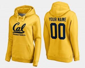 California Golden Bears Custom Hoodies Basketball - Gold #00 Women