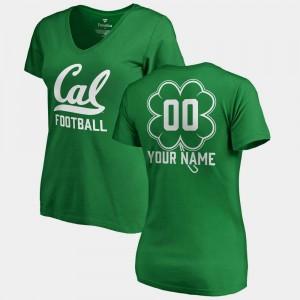 California Golden Bears Customized T-Shirt #00 V-Neck Dubliner Fanatics Women's Kelly Green St. Patrick's Day