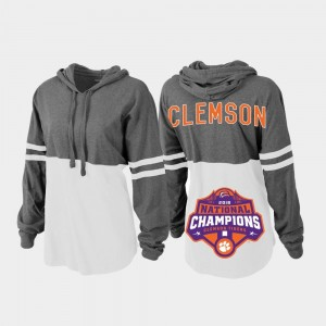 Clemson Tigers Hoodie Charcoal White For Women College Football Playoff Pom Pom Jersey 2018 National Champions