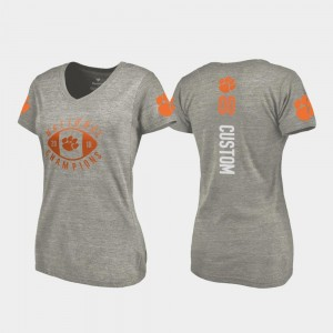 Clemson Tigers Customized T-Shirt Womens #00 2018 National Champions College Football Playoff V-Neck Gray