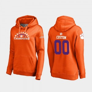 Clemson Tigers Customized Hoodie Orange 2018 National Champions College Football Playoff Pylon For Women #00