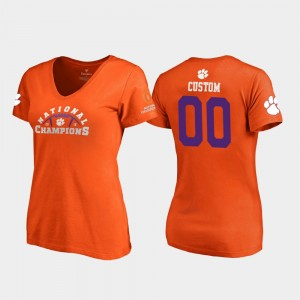 Clemson Tigers Custom T-Shirt #00 Pylon V-Neck For Women's Orange 2018 National Champions