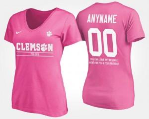 Clemson Tigers Custom T-Shirt Pink Women With Message #00