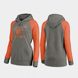 Clemson Tigers Hoodie Heather Gray College Football Playoff Lateral Raglan 2018 National Champions Ladies
