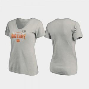 Clemson Tigers T-Shirt Heather Gray Women's 2020 National Championship Bound Post V-Neck